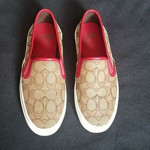 Coach Chrissy slip on shoes, red and tan LIKE NEW